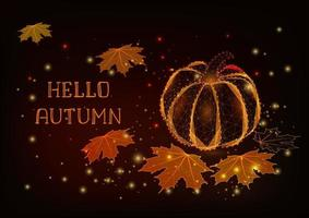 Hello Autumn greeting card template