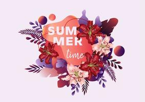 Summer time banner with lily flowers vector