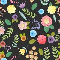 craft paper flowers pattern seamless background on black background vector