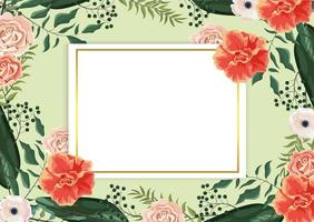 card with roses and exotic branches and leaves in background