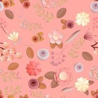craft paper flowers pattern seamless background vector