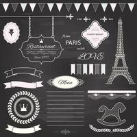 Designelement för Paris temauppsättning på svart tavlabakgrund.