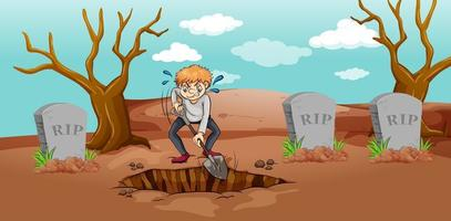 Scene with man digging hole in graveyard vector