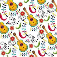 mexican guitar with flowers and chilis decoration pattern vector