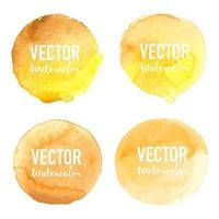 Yellow Watercolor circle set on white background vector
