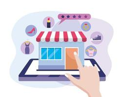 Hand mit Tablet-Technologie und digitalen Markt zum Online-Shopping