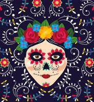 woman skull decoration with flowers for mexican event vector
