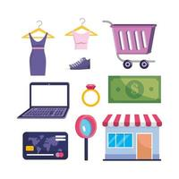 set of laptop technology with clothes and market sale with credit card and bill