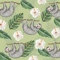 sloth with tropical flowers and leaves background vector