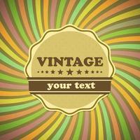 Étiquette vintage sur fond de rayons de soleil