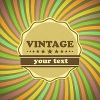 Vintage etikett på sunrays bakgrund
