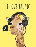 Linda jirafa en la ilustración de dibujos animados de auriculares