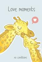 cute giraffe family cartoon illustration