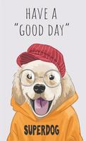 slogan with cute cartoon dog in yellow sweater illustration