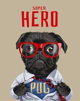 hero slogan with black pug dog in shirt illustration