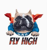 bull dog in flying cape illustration