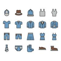 Clothes and accessories related icon set