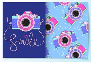 Hand drawn cute camera with pattern set