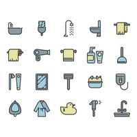 Bathroom related icon set
