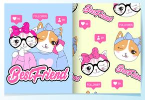 Hand drawn cute best friend cats with pattern set