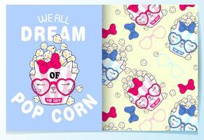 Dibujado a mano lindas palomitas de maíz con cara de gato y conjunto de patrones de gafas vector