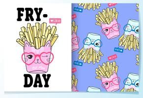 Hand drawn cute french fries with pattern set