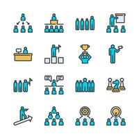 Business leadership icon set