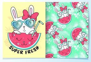 Handritad gullig kanin med solglasögon och vattenmelonmönsteruppsättning