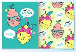 Disegnato a mano simpatico gatto pera e limone con set di pattern