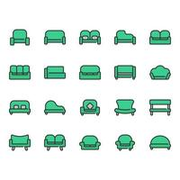 Sofa and seat icon set