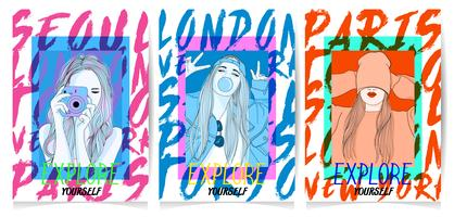 Hand drawn girls in different poses with typography set