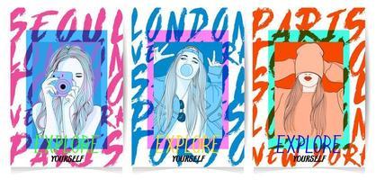 Hand gezeichnete Mädchen in den verschiedenen Haltungen mit Typografiesatz
