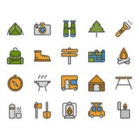 Camping and travel related icon set
