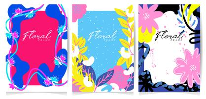 Hand drawn flower frame set