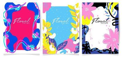 Conjunto de marco de flores dibujadas a mano