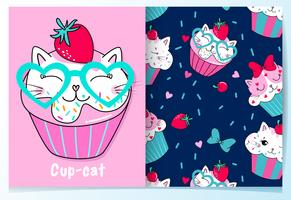 Hand drawn cute cat cupcake with pattern set