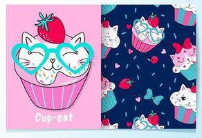 Hand getekend schattige kat cupcake met patroon ingesteld