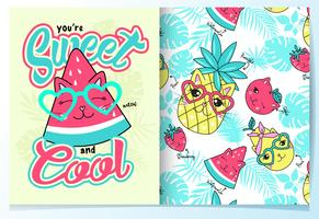 Hand drawn cute watermelon with pattern set
