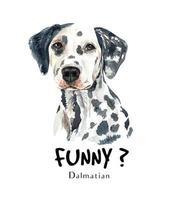 Dibujado a mano acuarela retrato de perro dálmata