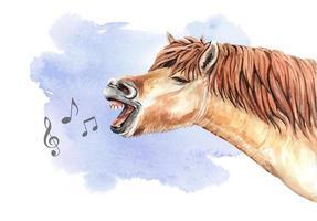 Aquarelle, chantant, fond d'aquarelle et cheval