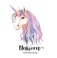 Watercolor of colorful Unicorn