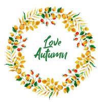 Couronne de feuilles belle aquarelle automne