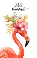 Aquarela Flamingo com Bouquet Tropical na cabeça