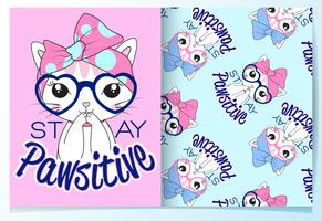 Hand drawn cute cat wearing glasses with pattern set