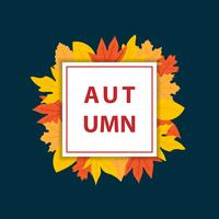 Autumn banner with square frame vector