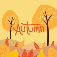 Arbres d'automne et feuilles sur les collines