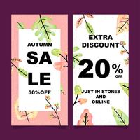 Autumn sale vertical banners set with watercolor leaves