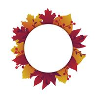Autumn leaves banner with circle