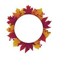 Hojas de otoño banner con círculo
