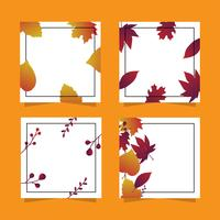 Autumn minimalist frame set vector